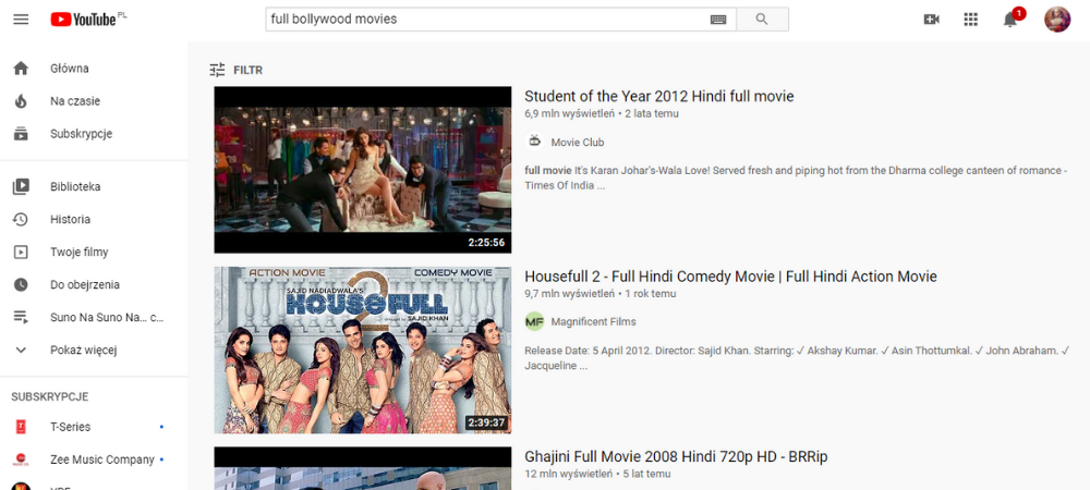 Filmy Bollywood na YouTube